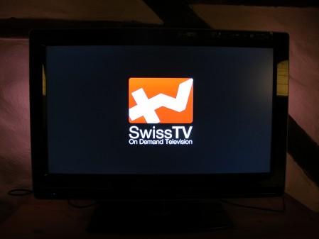Das SwissTV Logo beim ersten Start.