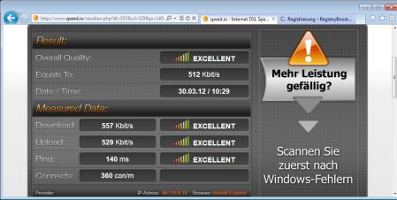 Der Netztest über speed.io mit einer SIM-Karte von E-Plus (Simyo)