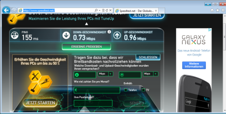 Simyo via speedtest.net
