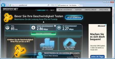 Die Telekom-Werte via Speedtest.net