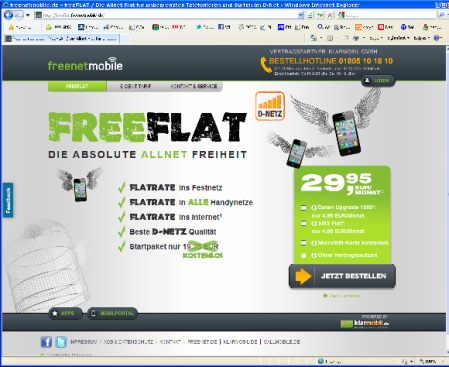 Freenet Flat für 29,99 Euro (Screenshot www.freenetmobile.de)